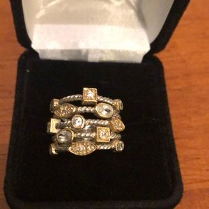 Silver and gold with cz's costume ring